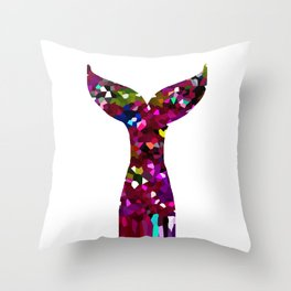 Mermaid Tail Ruby Red Pattern Throw Pillow