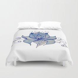 Watercolor Blue Lotus Duvet Cover
