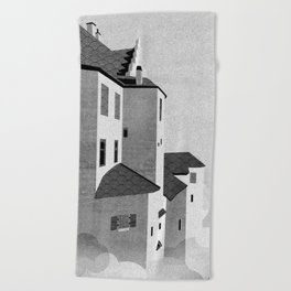 Castle in the Sky   Black & White Beach Towel