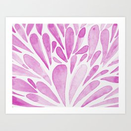 Watercolor artistic drops - pink Art Print
