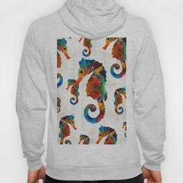 Colorful Seahorse Collage Art by Sharon Cummings Hoody