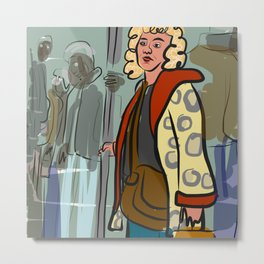 Woman on the subway with an animal skin coat Metal Print