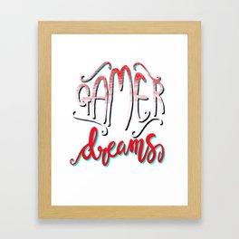 Gamer Dreams Gaming Video Game illustration Girls Women Framed Art Print
