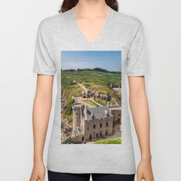 Castle in  Brittany Unisex V-Neck