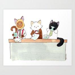 Morning news desk Art Print