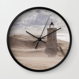 Sandstorm at the lighthouse Wall Clock