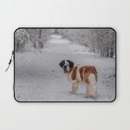 St Bernard dog in the snowy woods Laptop Sleeve