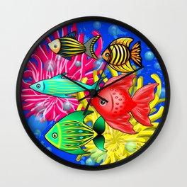 Fish Cute Colorful Doodles Wall Clock