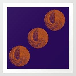 Sphere Geometry Night Abstract Art Print