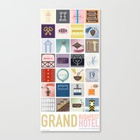 budapest hotel Canvas Prints featuring The Grand Budapest Hotel by Giulia Brolese