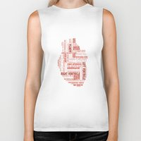 anatomical heart Biker Tanks featuring Anatomical Heart Typography by Compass Ink