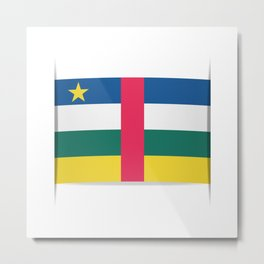 Flag of Central African Republic. The slit in the paper with shadows. Metal Print
