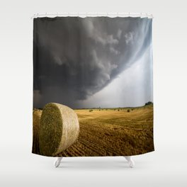 Spinning Gold - Storm Over Hay Bales in Kansas Field Shower Curtain