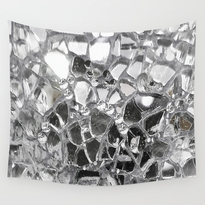 Silver Mirrored Mosaic Wall Tapestry