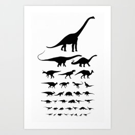 Dinosaur Eye Chart (monochrome) Cretaceous and Jurassic periods Art Print