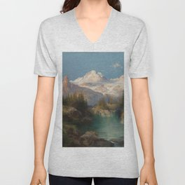 Snow-capped Rocky Mountains landscape painting by Thomas Moran Unisex V-Neck