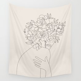 Woman with Flowers Minimal Line III Wall Tapestry