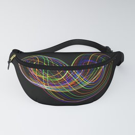 Long exposure photography made with light paint of various colors on a black background, waves, curv Fanny Pack