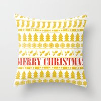 merry christmas Throw Pillows featuring Christmas Merry! by Fimbis