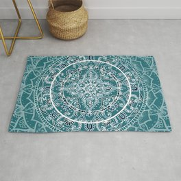 Detailed Teal and Blue Mandala Pattern Rug