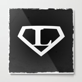 White Letter L Symbol Metal Print