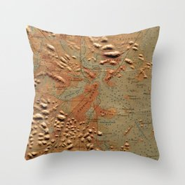 Vintage Relief Map of Boston MA (1874) Throw Pillow