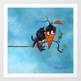 A Crow in the Rain Art Print