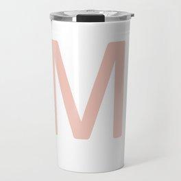 Pink Scrabble Letter M - Scrabble Tile Art and Accessories Travel Mug