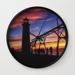 Sunset From the Pier Wall Clock