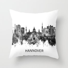 Hanover Germany Skyline BW Throw Pillow