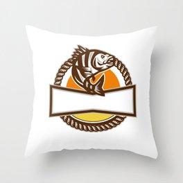 Sheepshead Fish Rope Circle Retro Throw Pillow