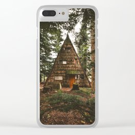 A-Frame Cabin in the Woods Clear iPhone Case