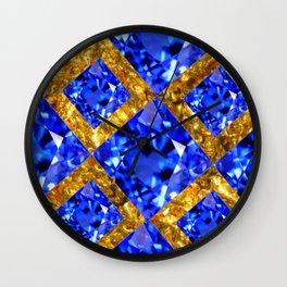 ASYMMETRIC ROYAL BLUE SAPPHIRE GEMSTONES ART ON GOLD Wall Clock
