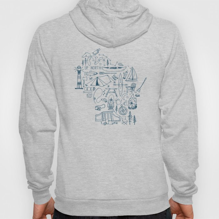 Wisconsin Up North Collage Hoody