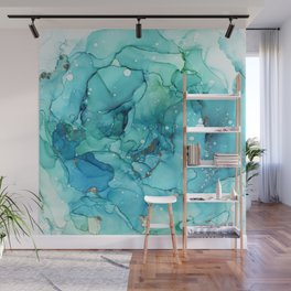 Teal Chrome Flowing Abstract Ink Wall Mural