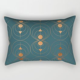 Copper Art Deco on Emerald Rectangular Pillow