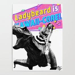 Ladybeard riding a T-Rex Poster