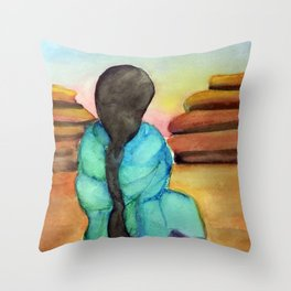 Woman Sitting on Rock Throw Pillow