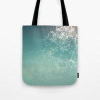 physics Tote Bags featuring Fresh summer abstract background. Connecting dots, lens flare by AMULET
