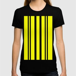 NEON YELLOW AND BLACK THIN AND THICK STRIPES T-shirt