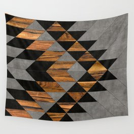 Urban Tribal Pattern No.10 - Aztec - Concrete and Wood Wall Tapestry