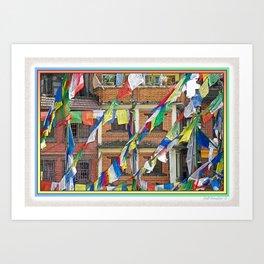 BOUDHANATH HOUSES AND FLAGS KATHMANDU NEPAL Art Print