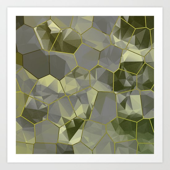 Stained Glass Polygons (Gold & Green) Art Print