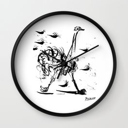 Pablo Picasso Ostrich Artwork T Shirt, Reproduction Sketch Wall Clock