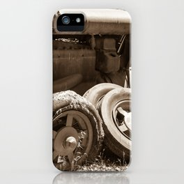 Vintage rusty abandoned farm tractor in poor condition iPhone Case