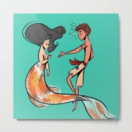 Koi Mermaid and Sailor Metal Print