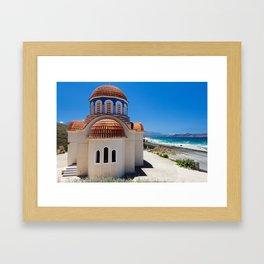 Greek Orthodox Church By The Sea Framed Art Print