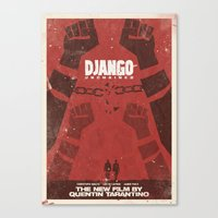 quentin tarantino Canvas Prints featuring Django Unchained -  Quentin Tarantino Minimal Movie Poster by Stefanoreves