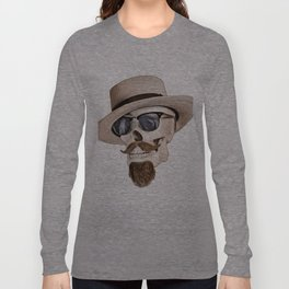 Hipster Skull in Black and White Long Sleeve T-shirt
