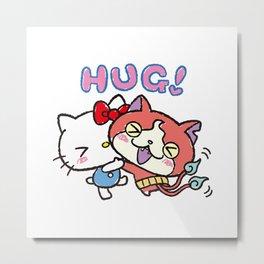 HelloKitty x Jibanyan free hug Metal Print